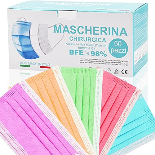 Mascherine Colorate Monouso MADE IN ITALY Certificate Tipo IIR,Nasello Regolabile Morbida e Traspirante Confezione Da 50 pezzi (A-multicolore M13)