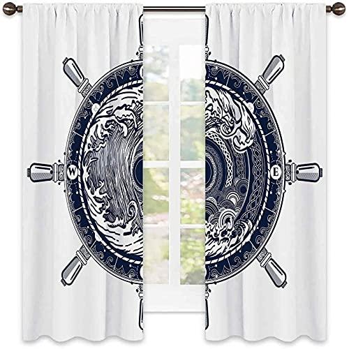 Tenda termoisolante Avventura, motivo a bussola marina e tempesta tatuaggio in stile celtico tsunami onde e ruota, per soggiorno o camera da letto, larghezza 150 x lunghezza 172 cm, blu scuro bianco