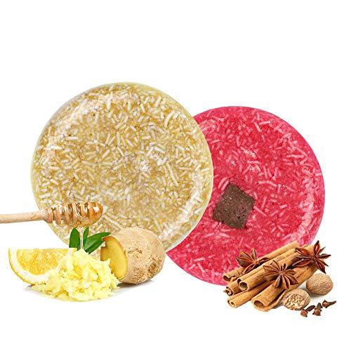 2x Shampoo Solido, 100% Naturale Shampoo Bar Sapone per capelli secchi danneggiati e trattati, Essenza Vegetale Vegetariana Balsamo Set [Ritocco/Crescita/Lisciante] Regalo per Donna Uomo