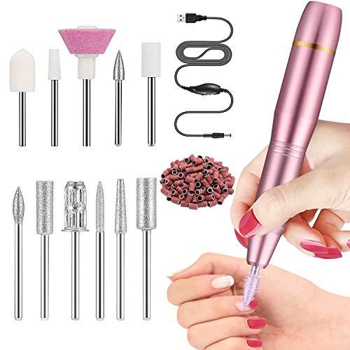 Fresa per Unghie Kit Professionale per,Velocità Regolabile,11 Lime e 6 Cilindri abrasivi, Trapano Elettrico Portatile per Manicure e Pedicure(Rosa)