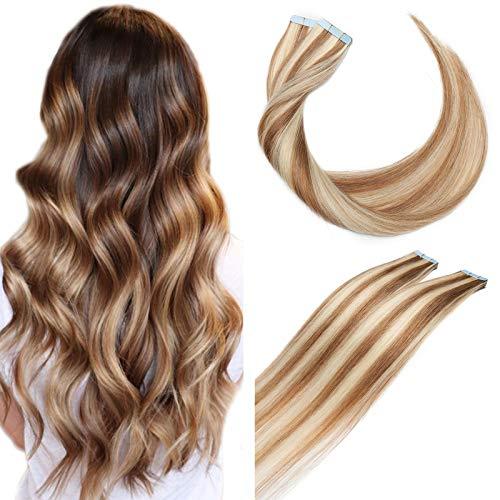 SEGO Extension Biadesivo Capelli Veri Adesive 20 Ciocche 30g Biadesive senza Clip Tape Remy Human Hair Balayage 40cm # 12P613 Marrone Chiaro/Biondo Chiaro