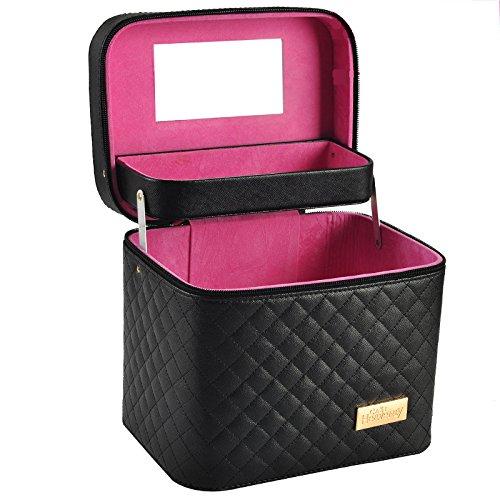 FRTU Beauty Case Scatola trucco tridimensionale multistrato multifunzionale porta trucco portatile da viaggio per donna di grande capacità nera