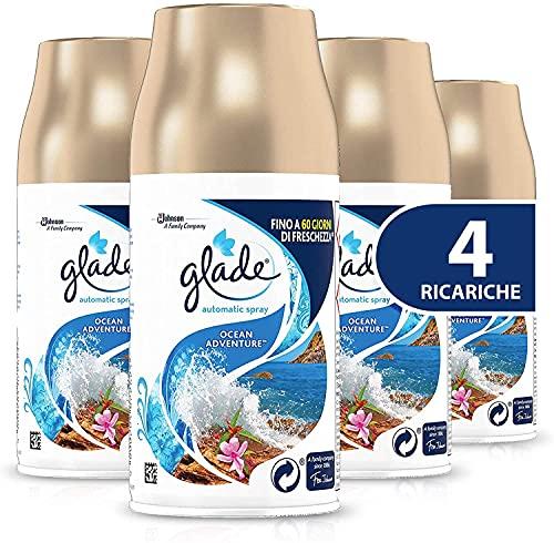 Glade Automatic Ricarica, Profumatore per Ambienti Spray, Fragranza Ocean Adventure, Formato Scorta, 4 x 269 ml