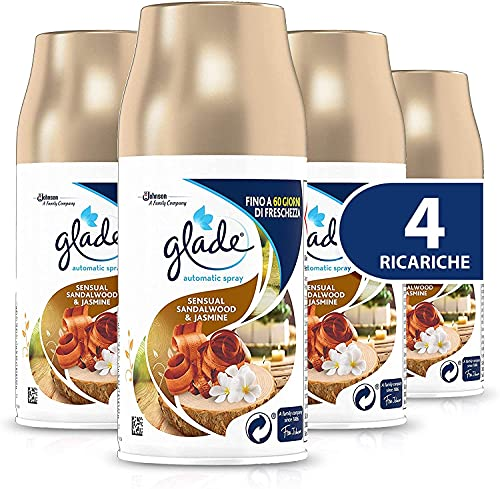 Glade Automatic Ricarica, Profumatore per Ambienti Spray Fragranza Sensual Sandalwood & Jasmine, Formato Scorta, 4 X 269 ml