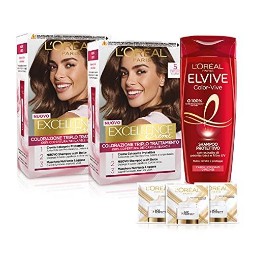 L'Oréal Paris Cofanetto Colorazione Color&Care, Include 2 Tinta Capelli Excellence Castano Chiaro 5 e 1 Shampoo per Capelli Colorati Elvive Color Vive