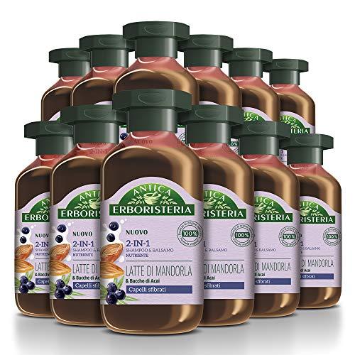 Antica Erboristeria 2 in 1 Shampoo Nutriente Latte di Mandorla, Shampoo e Balsamo per Capelli Rovinati con Ingredienti Naturali, 12 pezzi x 225 ml