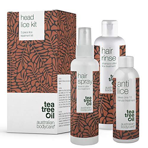 Australian Bodycare Head Lice Kit | 3 prodotti al tea tree oil per eliminare lendini e pidocchi | Trattamento di 15 minuti antipidocchi, spray preventivo e shampoo per tutta la famiglia