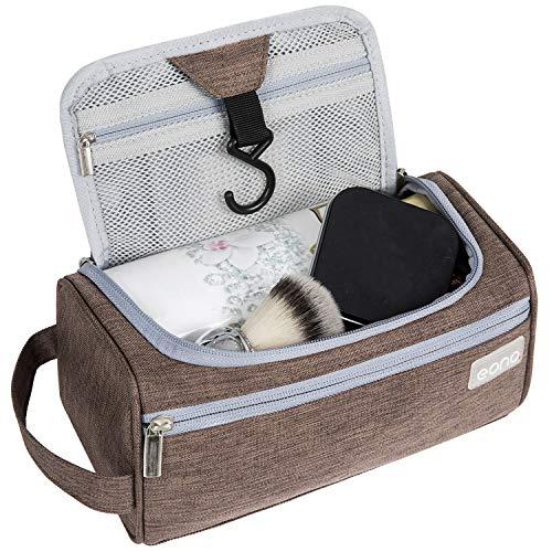 Amazon Brand - Eono Beauty Case Uomo & Donna, Borsa da Toilette Unisex Borsa Cosmetici per Valigie, Borsa da Viaggio per Lavaggio, Wash Bag, Toiletry Bag, Borsa Appendibile da Viaggio - Marrone