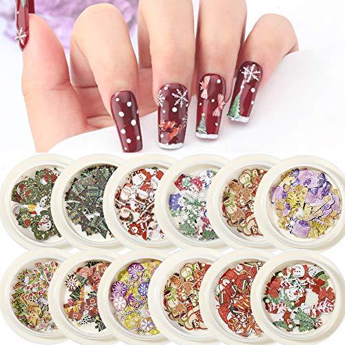 Kalolary 12 scatole Paillettes per unghie natalizie olografiche, Paillettes di pasta di legno per unghie 3D Adesivo per unghie renna fiocco di neve di Natale per decorazioni fai da te nail art