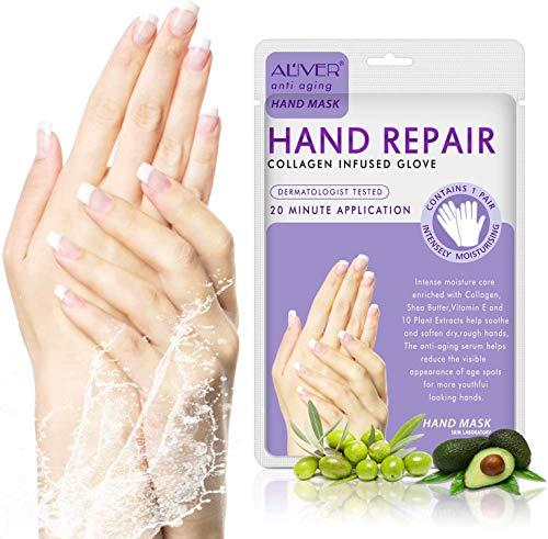 3 Paia Di Guanti Idratanti Maschera Per Le Mani Contengono Olio Di Oliva + Collagene - Naturale E Organica Idratante E Nutriente Per Mani E Unghie Asciutte riparare la pelle ruvida per donne e uomini