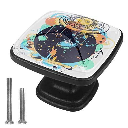 Cassetto di stoccaggio tira con 8 viti Computer Scrivania maniglie Casa fai da te Studio Camera da Letto Universo Tatuaggio