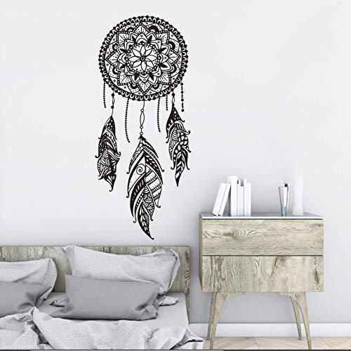 Adesivo da parete in vinile Modello indiano Mandala Boho Adesivo da parete in vinile Fantasia Piuma Adesivo da parete Carta da parati A4 57x132 cm