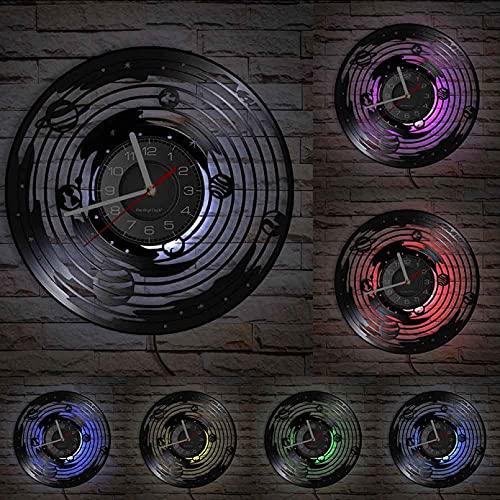 Orologio da parete in vinile Sistema solare astronomico Otto pianeti Decorazione per la casa Orologio da parete fustellato Orologio spaziale