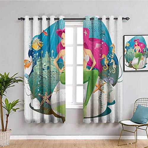 Songdayone Tenda isolata ombreggiata sott'acqua, 183 cm di lunghezza, illustrazione di una sirena e il suo mondo sottomarino, stampa paesaggio colorato, riduce la luce multicolore, 72 x 183 cm