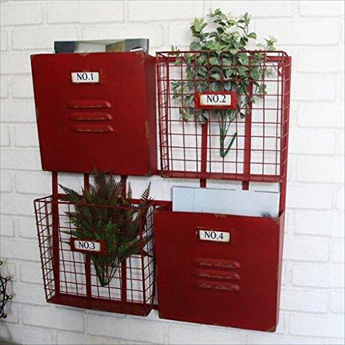 Portariviste industriale americano in ferro battuto Mensola a muro come scaffale per scaffali Espositori per scaffali in metallo Giornale Rack a parete ( Color : Red 54*51cm )