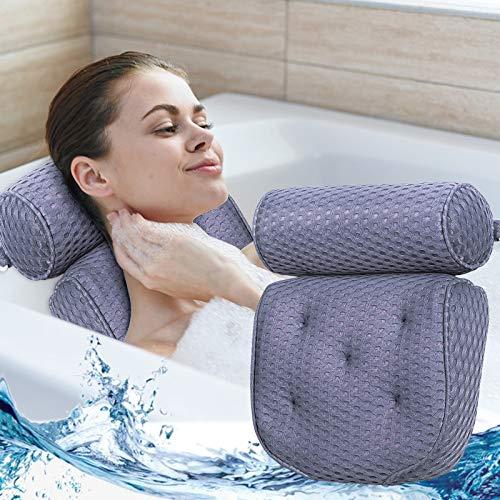 FINEW Cuscino da Bagno Premium, Cuscino per Idromassaggio Comfort Cuscino con 7 Ventose, Cuscino per Vasca/Spa di Lusso Perfetto per Supporti per Spalle, Ideale per Idromassaggio e Spa Domestica