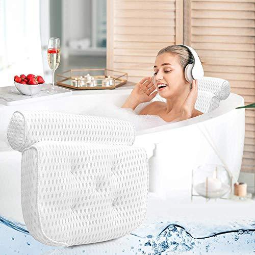 Cuscino da Bagno di Lusso per Poggiatesta e Supporto per Le Spalle 55x38 cm Vasca da Bagno a 3 Pannelli con Cuscino con 7 Ventose Bilisder Cuscino Vasca da Bagno