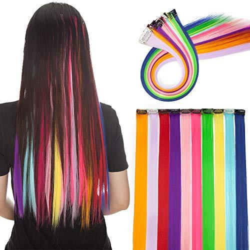 Silk-co Extension Clip Capelli Colorati Lisci 10pz Clip in Extension Parrucchini per Bambini Accessore per Capelli Hairpiece-Dieci Colori in Foto