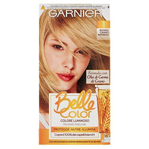 Garnier Tinta Capelli Belle Color, Colore Luminoso e Riflessi Naturali, Copre il 100% dei Capelli Bianchi, Biondo Chiaro Naturale, Confezione da 1