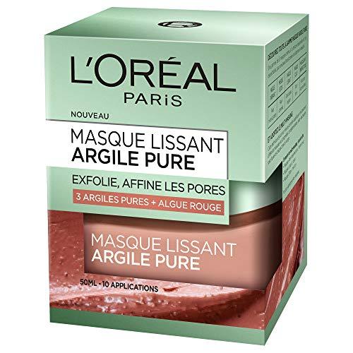 L'Oréal Paris - Maschera per viso a base di argilla/alga rossa, con effetto lisciante ed esfoliante, 50 ml