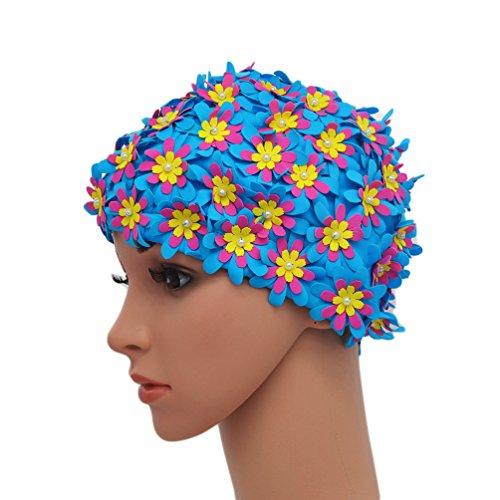 Medifier Cuffia da donna stile rétro con petali, motivo floreale, da piscina, Blue