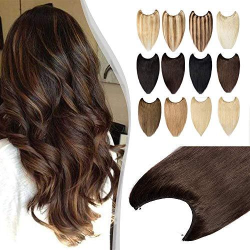 Elailite Extension Capelli Veri Filo Invisibile 100% Remy Human Hair Fascia Unica senza Clip Standard Weft 40cm 60g #4 Marrone Medio