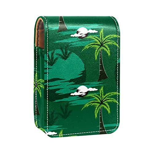 Green Moon Coco Tree - Custodia per rossetto, per borsa, mini rossetto, da viaggio, con specchio, per le donne