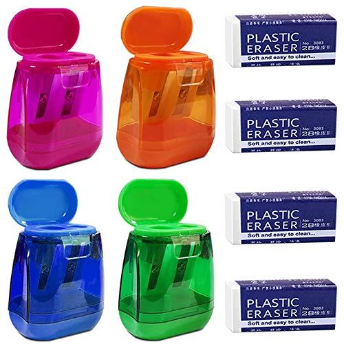 Maxin - Set di 4 temperamatite e 4 gomme da cancellare, temperamatite con doppio foro colorato e tappo, per scuola, ufficio, forniture domestiche e molto altro ancora