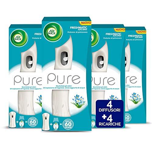 Airwick Profumatore per Ambienti Spray Automatico Freshmatic - 1 Confezione con 4 Diffusori e 4 Ricariche, fragranza Pure Profumo di Primavera - Ricarica da 250 ml