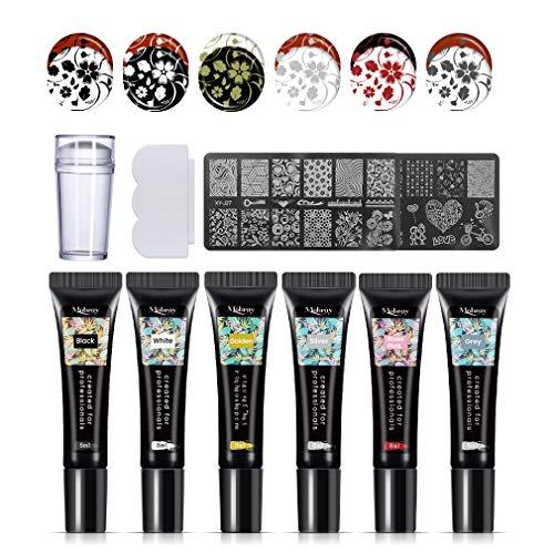 Mobray - Set di 6 gel per stamping unghie, tubetti da 8 ml, con timbro e raschietti, 6 colori, 36 motivi, per manicure, nail art