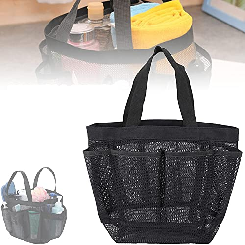 LKHYL 8 Pocket Portable Mesh Shower Caddy Basket - Quick Dry Shower Tote Bag Oxford Hanging Toiletry And Bath Organizer for Shampoo, Conditioner, Soap And Other Bathroom Accessories (Black)