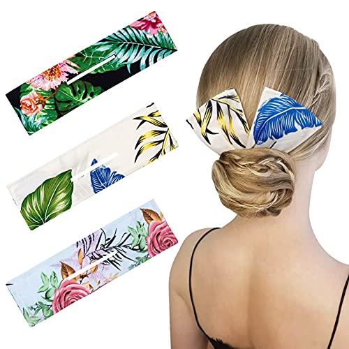 MELLIEX 3pcs Deft Bun Hair Chignon Maker per Capelli French Twist Magic Elegante Panno Multicolore Accessori di Capelli, Fascia per Capelli da Donna