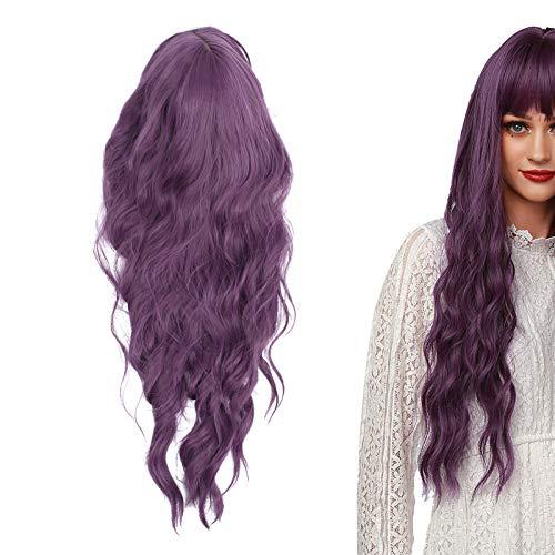 Parrucca da donna, parrucca viola Parrucca regolabile da donna alla moda Capelli lunghi ondulati Cosplay Capelli finti 66 cm
