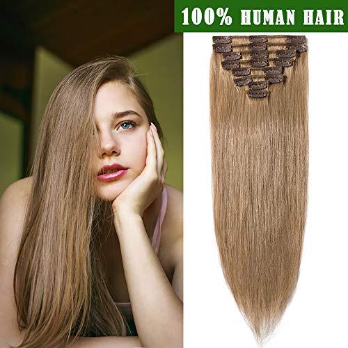 SEGO Extension con Clip Capelli Veri Extensions Bionde Set da 8 Ciocche 100% Remy Human Hair Umani Naturali Lisci 18 Clips 40cm 65g # Biondo Scuro