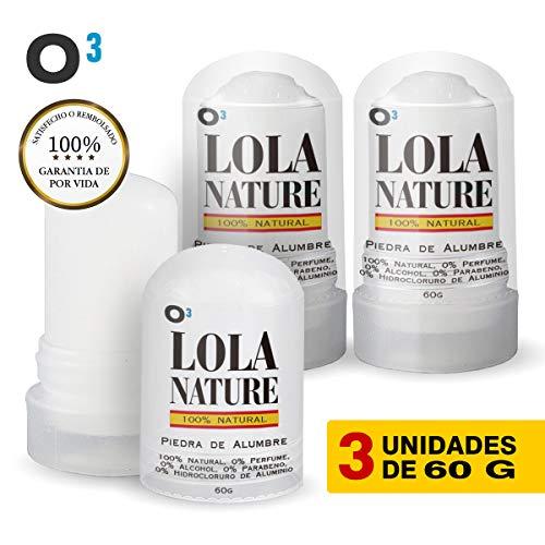 O³ 100% Pietra Naturale Deodorante Per Allume Di Natura Lola Senza Parabeni In Alluminio - Efficace Contro I Tagli Da Barba 3 Unità X 60 G