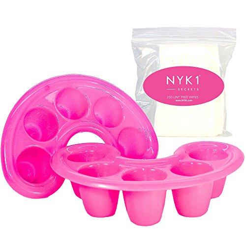 NYK1 Soak Off Finger Bowl Dishes per Shellac Gel and Acrylic Nails con 200 salviette quadrate di cotone da strofinare sulle unghie. Riempi il vassoio di acetone per rimuovere lo smalto gel.