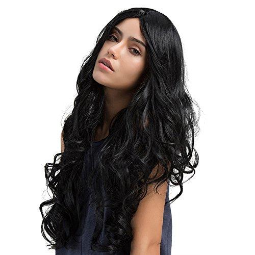 TopWigy Parrucche a onde lunghe Parrucche sintetiche per capelli neri Parrucche lunghe nere lunghe Parrucche lunghe da donna per la festa quotidiana