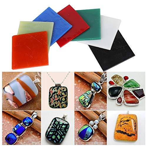 Lastra di vetro quadrata a 7 colori per fornitura di fusione per forno a microonde Accessori per la creazione di gioielli fai-da-te