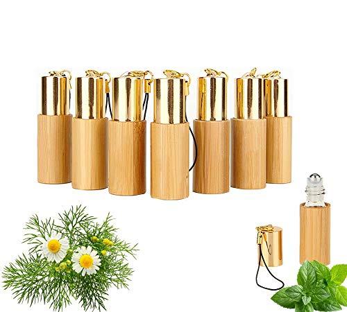 MKNZOME 7 pz 5ml Vuoto Bottiglie per Oli Essenziali, Bottiglie riutilizzabili con Rullo con Sfera in Acciaio Inox e Sfera in Vetro, Contenitore per aromaterapia Oli Essenziali profumi Lip Balms#4