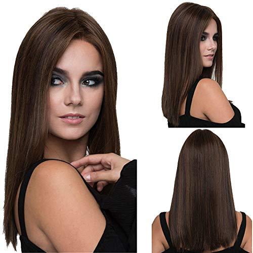 Affascinante parrucca lunga e liscia, da donna, per uso quotidiano, naturale e sana, 51 cm, marrone, con calotta.