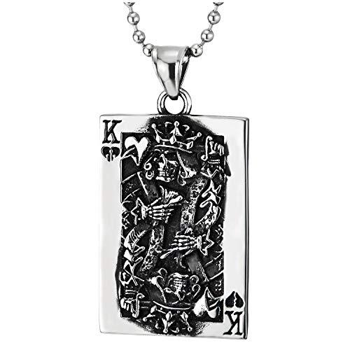 COOLSTEELANDBEYOND Annata Convesso Picche Re Ace Carta Poker Ciondolo, Collana con Pendente con Tribal Tatuaggio Grafico, Acciaio, Due Lati