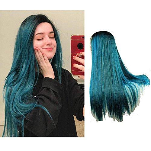 Eseewigs lungo Blue Ombre parrucca Two Tone merletto della parte anteriore di calore parrucca resistente per le donne 24inch