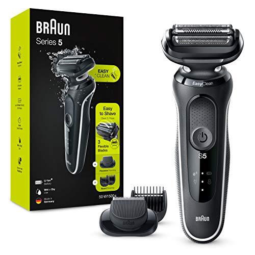 Braun Serie 5 50-W1500s Rasoio Elettrico Barba con Regolabarba, Wet&Dry, Ricaricabile, Rasoio a Lamina senza Fili, Bianco