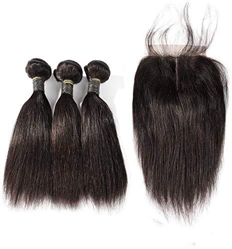 BLISSHAIR capelli umani veri vergini brasiliani 9A straight human hair bundles with 4x4 closure hair extention brasiliani extension capelli umani 101010+10