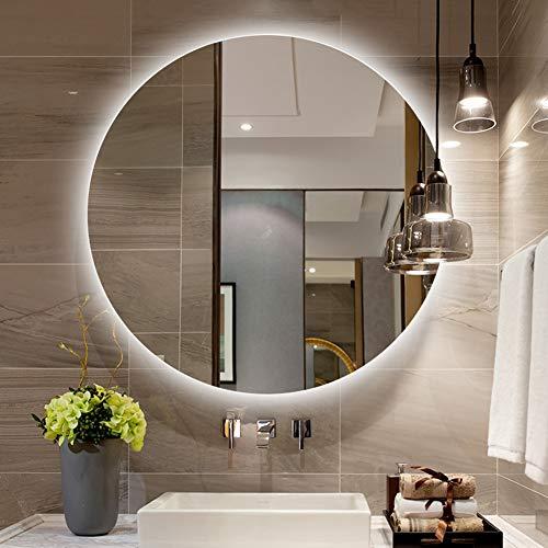 L&ED Illuminazione a LED Rotonda Specchio per Bagno Specchio per Trucco retroilluminato, Vanità, Rasatura, Senza Cornice, Montaggio a Parete