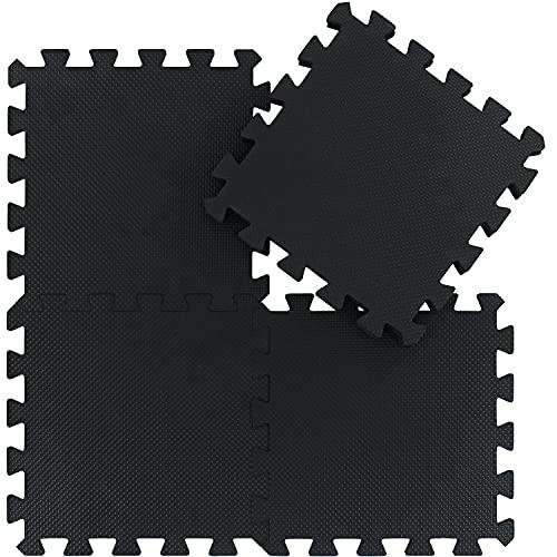 qqpp Tappeto Bambini Puzzle con Certificato CE in Morbido Gomma Eva   Tappeti da Gioco per Bambina   Tatami. 18 Pezzi (30 * 30 * 1cm), Nero. QQC-Db18N