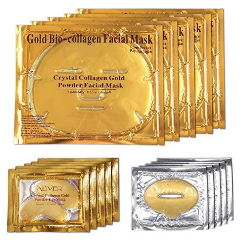 ALIVER 24k Gold Bio-collagen Face Mask + Gold Powder Eye Mask+ Gold Lip Mask (5sets/package)