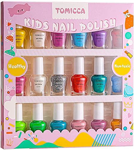 TOMICCA Set Di Smalti Per Unghie Per Principessa, Rainbow Candy Colors Smalto Speciale Con Brillantini Per Bambini, Con Formula Peel-off, a Base D'acqua E Senza Odori,Adatto Come Regalo