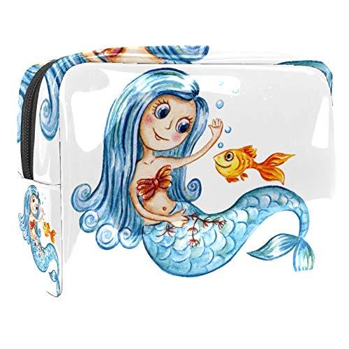 Cosmetici Borsa Bambina sirena blu Beauty Case da Viaggio Borsa da Viaggio Impermeabile Borsa per Cosmetici Toiletry Bag 18.5x7.5x13cm