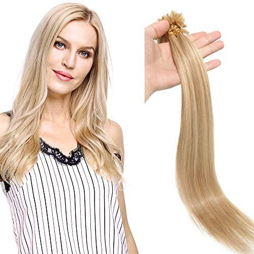 (40-60cm) Extension Capelli Veri Cheratina 100 Ciocche Punte Piene 100g/Set Remy Hair Pre Bonded U Tip Nail Hair Extension 40cm - 18P613 Biondo Cenere/Biondo Sbiancante